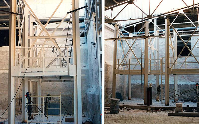 Muntatge d'instal.lació formada per estructura i sitges per a ciment