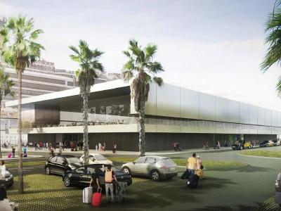 Cintas transportadoras para maletas en la nueva Terminal E del puerto de Barcelona